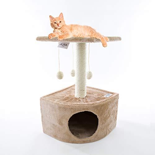Le Stars Kratzbaum für Katzen mit Katzenhöhle aus Sisal, Spielbälle mit Ablage, Farbe Beige, 50 x 32 x 32 cm