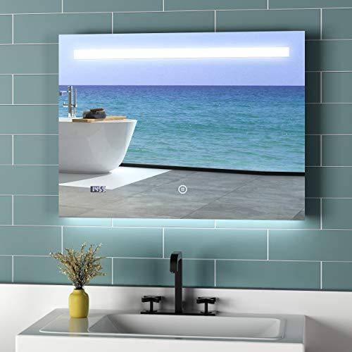 MeyBOOK LED badkamerspiegel met verlichting badkamerspiegel wandspiegel, lichtspiegel met dimmer warm wit koud wit neutraal, energieklasse A++ 100x70cm Modell 6 Koudwit Touch+anti-condens-horloge