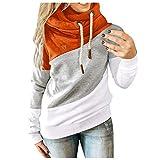 HJFR 2021 - Camiseta de manga larga para mujer, con capucha, para otoño e invierno, sudadera de manga larga para mujer, sudadera con capucha Orange21 XXL