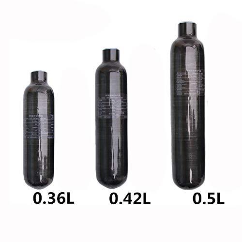 MUJING Estación de llenado Paintball de Tanque de Aire de Fibra de Carbono de 4500 PSI para PCP Paintball (Botella vacía),0.42L