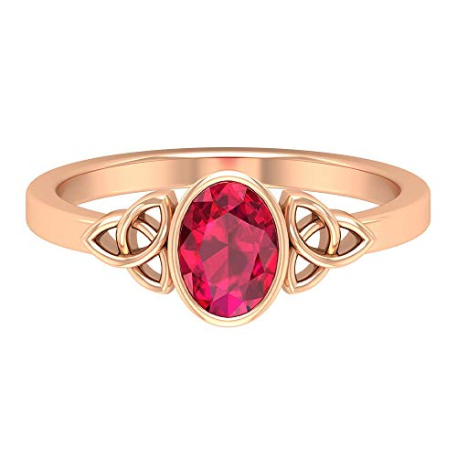 7X5 MM Lab Created Ruby Ring, Solitaire Engagement Ring, Gold Celtic Knot Ring, 14K Rose Gold, Size:US 8.0