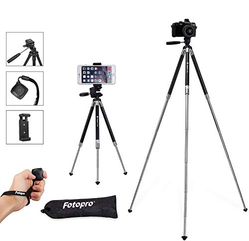 Travel Tripod Set for Smartphone, Fotopro Lightweight Tripod with Compact Phone Holder Mount & Bluetooth Remote Control & Portable Tripod Bag (Aluminum Alloy 39.5 Inches, Black)