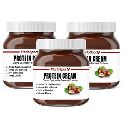 FlorioSport, Protein Cream, 3x400 g Crema Spalmabile Proteica al 24% di Proteine. Nocciola e Cacao. Senza Zuccheri Aggiunti. Nuova Formula. Spalmabilità Migliorata