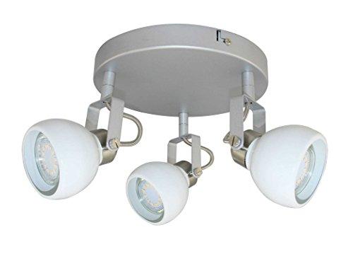 Mathias 3367379 PLAFONNIER 3L LED RAI, Métal, GU10, 9 W, Blanc, H14 D30 cm