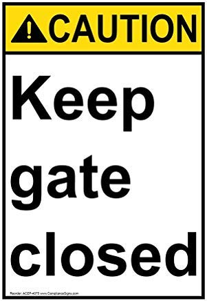Wendana Voorzichtigheid Houd Poort Gesloten ANSI Veiligheidsbord, Aluminium, Metalen waarschuwingsborden, Privébord, Kennisbord, Tuinhek Sign,8