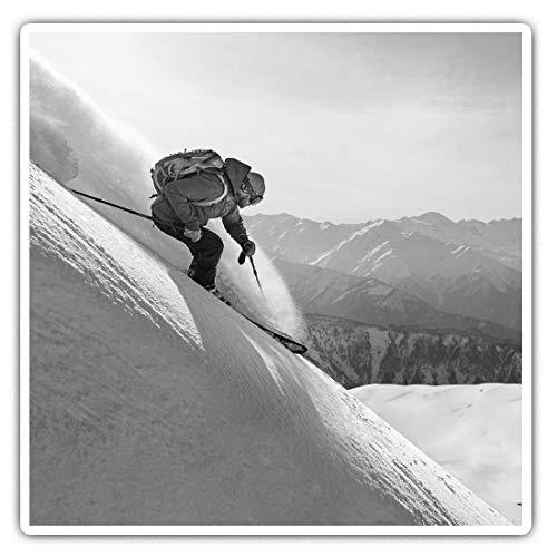 Impresionantes pegatinas cuadradas (juego de 2) 10 cm BW – Freeride Ski,...