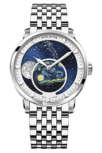 Agelocer Reloj de los hombres Top Marca Azul Luna Fase Mecánica Masculina Moda Lujo Muñeca Acero Inoxidable Pulsera (NK_6401A9)