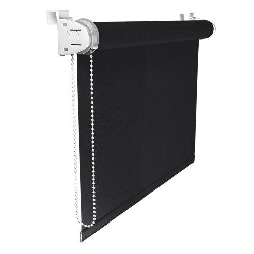 Victoria M. Klemmfix Verdunkelungsrollo ohne Bohren Rollo 60 x 150 cm, Schwarz, Seitenzugrollo Verdunkelung für Fenster und Türen