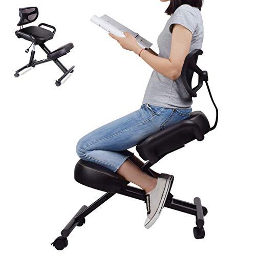 B&H-ERX Silla Ergonómica de Rodillas con Respaldo, Taburete Ajustable para el Hogar y la Oficina - Mejore su Postura con un Asiento en ángulo - Cojines Gruesos y Cómodos (Negro)