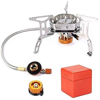 Odoland Réchaud de Camping, Brûleur Camping Stove Compact Portable Cuisinière Extérieur Pliable, Coupe-Vent et avec allumage piézo-électrique pour Randonnée/Outdoor/Pique-Nique