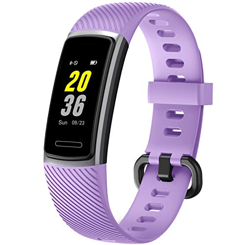 Letsfit Fitness Tracker, Schrittzähler Uhr, Wasserdicht IP68 Aktivitätstracker mit Pulsmesser, Fitness Armband pulsuhr Smartwatch für Kinder Damen Herren iOS Android Kompatibel (Light Purple)
