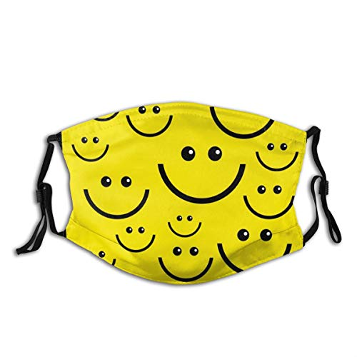 Comfortable Adjustable Cartoon Yellow Smiley Face Smiling Design Elastic Earloops Filter Breathable Facemasks For Women And Men
