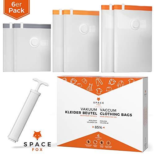 SpaceFox Vakuumbeutel 6er Set mit Pumpe - EINSTEIGERSET - 2 Groß 70x100 cm + 2 Mittel 50x70 cm + 2 Klein 40x60 cm - Vakuumier Beutel für Kleidung - Vacuum Storage Bags