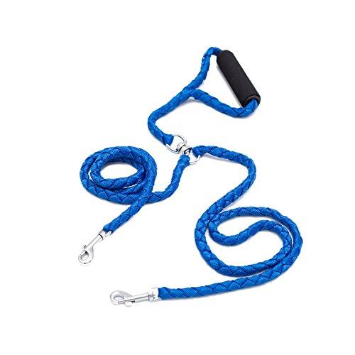 Locisne Keine Verwicklung Dual-Hundeleine für 2 Hunde Nylon 1.4m (Blau)