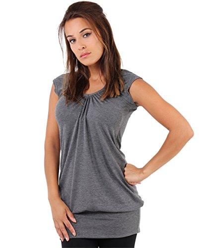 KRISP Haut Femme Sexy Chic Top Ample Grande Taille Fluide T Shirt Large Long Pas Cher Vêtement Mode, Charbon (7604), 36 EU (08 UK)