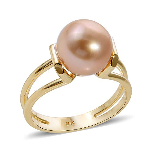 TJC Golden South Sea Pearl Solitaire Ring for Womens in 9ct Yellow Gold Engagement Gemstone Jewellery Size N June Birthstone, TCW 7.52ct