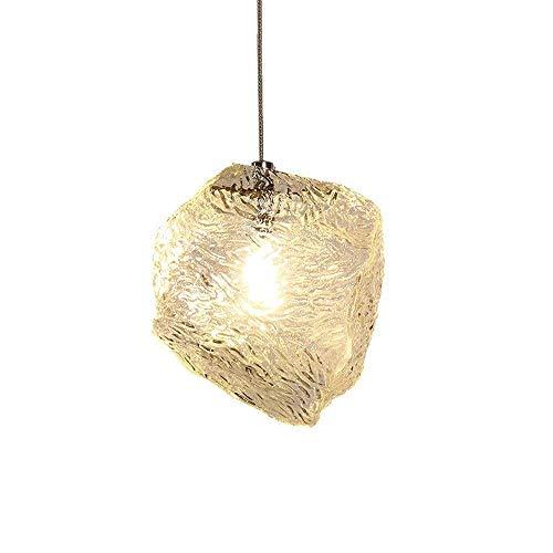 LLLKKK Creativa lámpara colgante G4 con forma de cubo de hielo de cristal, lámpara colgante moderna bonita decoración, iluminación interior para mesa de comedor, cocina o salón