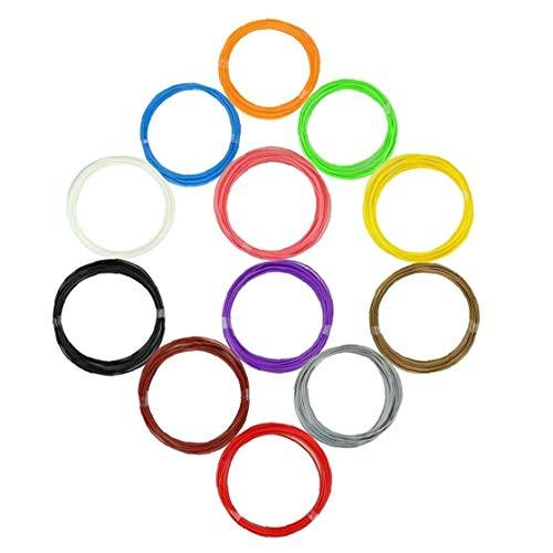 3D Pen 3D Printer Filament ABS Filament Pack of 12 Different Colors High-Precision Diameter Filament to Rich and Convenient Life