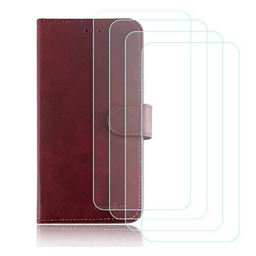 DQG Funda para Elephone P9000 Flip Folio Caja PU Cuero Caso Soporte Billetera Tapa Carcasa + [4 Piezas] Cristal Templado Protector de Pantalla para Elephone P9000 (5.5