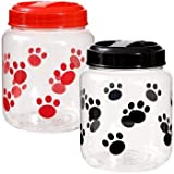 Famous Todd's Pet Supplies BPA-Free Plastic Airtight Dog Treat & Food Storage Containers Canisters Black & Red Paw & Bone Print (Set of 2)