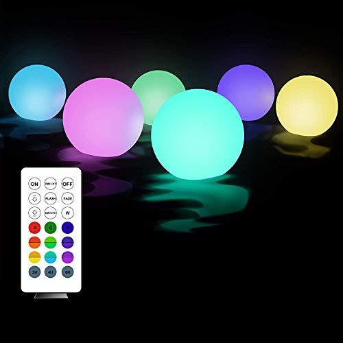 Luz flotante para piscina, 6 unidades, luz LED, 7 colores RGB cambiantes, iluminación flotante, resistente al agua, lámpara exterior para jacuzzi, fiesta, boda, spa