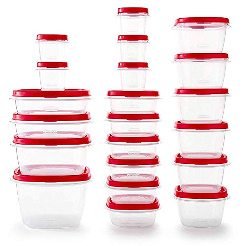 Rubbermaid Easy Find Vented Lids Food Storage Containers Set of 21 42 Pieces Total Racer Red