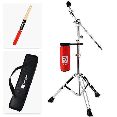 Vangoa Cymbal Stand Boom/Straight Set, Heavy Duty Double Braced Legs with Padded Bag and Drumstick Bag, Adjust Height (32-57) in, 8.8lbs