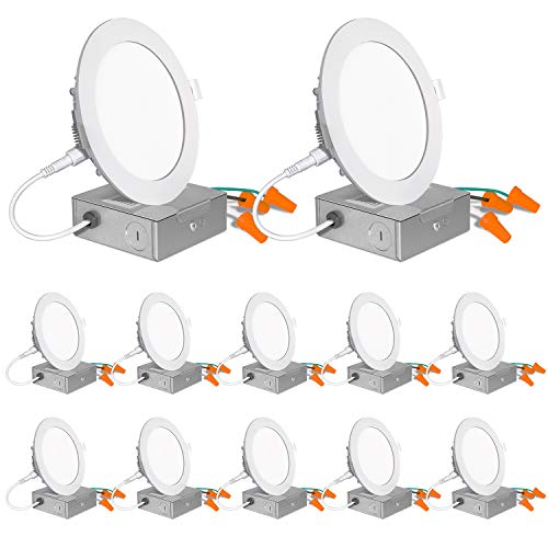 12 Pack 4 Inch LED Recessed Lighting with Junction Box, Wet Location,10W=80W, 4000K Cool White, 650lm Dimmable Wafer Light, Canless LED Recessed Ceiling Light, ETL