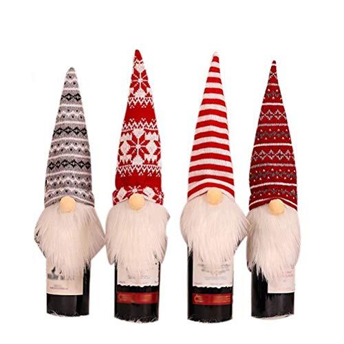 QoFina Cubierta de la Botella de Vino de los gnomos de Navidad Cubierta de la Tapa de la Botella de Vino de Santa Cubierta de la Botella de champán con Barba Blanca para la decoración navideña