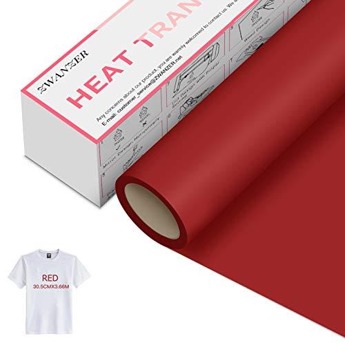 Zwanzer Lámina para plóter textil, 30,5 cm x 3,66 m, para Cricut y Silhouette Cameo, se utiliza en ropa de camiseta y otras telas (rojo)
