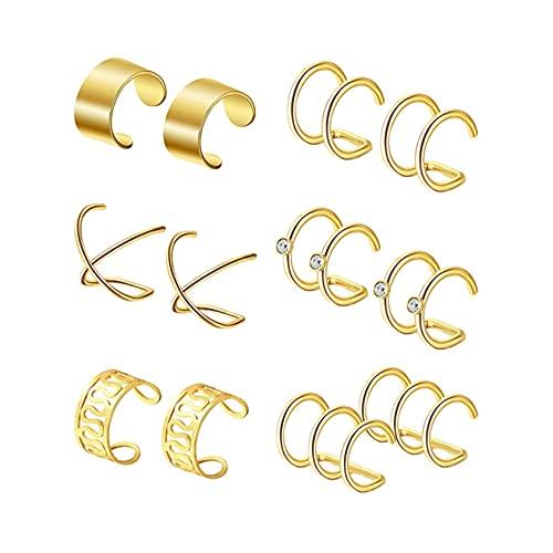 SMEJS Conjuntos de pinzas para la oreja falsas Pendientes sin perforaciones Pendientes de aro con clip Pendientes Hombres Mujeres Anillo para la oreja Joyas para la oreja Aros para las orejas fal