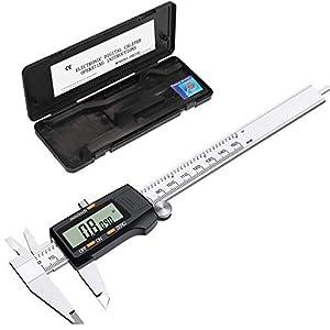 eSynic Calibrador Vernier Digital de 150 mm 6 Pulgadas Calibrador Digital de Acero Inoxidable con Conversión Métrica en Pulgadas y Gran Pantalla LCD para Diseñadores, Ingenieros y Mecánicos