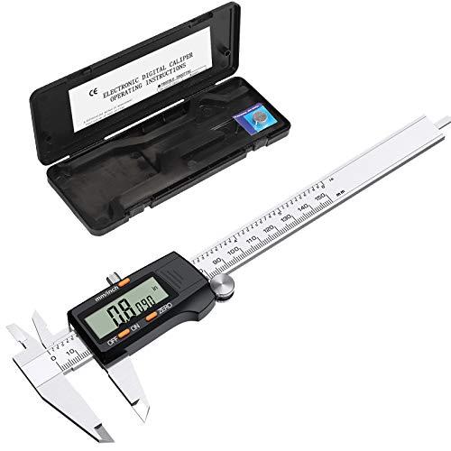eSynic Calibrador Vernier Digital de 150 mm 6 Pulgadas Calibrador Digital de Acero Inoxidable con Conversión Métrica en Pulgadas y Gran...