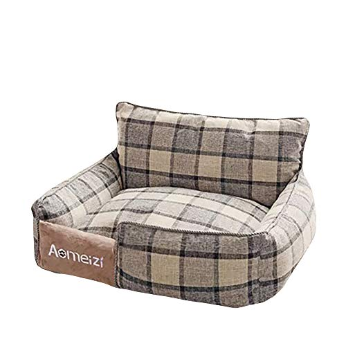 thematys Hundebett I Haustier-Korb I Hunde-Couch I Katzenbett hochwertig und Kratzfest I Abziehbar und Waschbar (Style 1, L (65 x 55 cm))