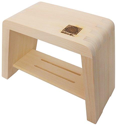 市原木工所 風呂椅子 木製 余湯派 湯殿腰掛 大 25×16×23cm