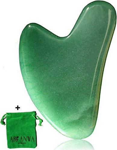 Premium Gua Sha Jade von ARI ANWA Skincare® | 100% echter Jade Aventurine Tool | GRATIS Samtbeutel & E-Book | Effektiv & Hochwertig - Gua Sha Stein | Gua Sha Schaber