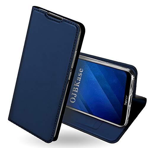 OJBKase Honor 8X Hülle, Premium Slim PU Leder Handy Schutzhülle [Standfunktion] Hülle/Cover/Brieftasche/Ledertasche Bookstyle Tasche Lederhülle Handyhülle für Huawei Honor 8X (Blau)