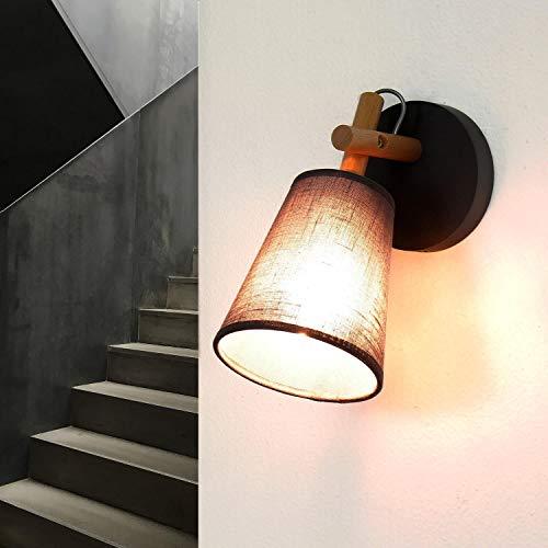 Applique murale design scandinave gris bois abat-jour tissu entonnoir E27 lampe murale