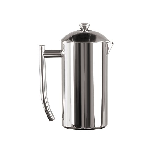 Frieling French Press Coffee Maker with Patented Dual Screen in Frustration Free Packaging, Zero Sediment, 18/10 Stainless Steel, No-drip Spout, Retains Heat 4x Longer Than Glass, Polished, 23-Ounce