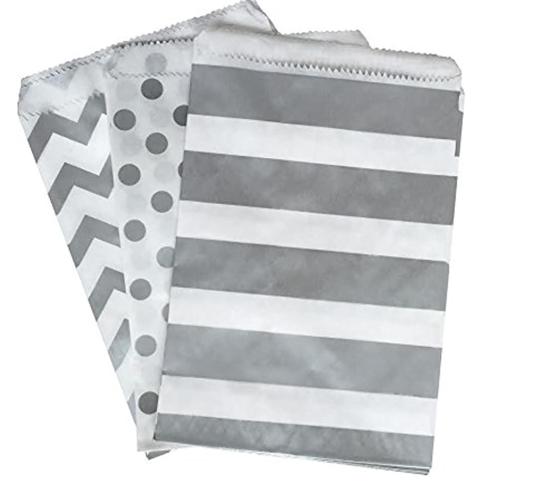 Outside the Box Papers Silver and White Paper Treat Sacks - Chevron Stripe Polka Dot Favor Bags - 5.5 x 7.5 inches - 48 Pack