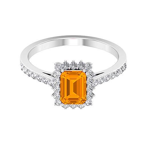 Anillo de corte octágono de 7 x 5 mm, anillo de compromiso para ella de oro blanco