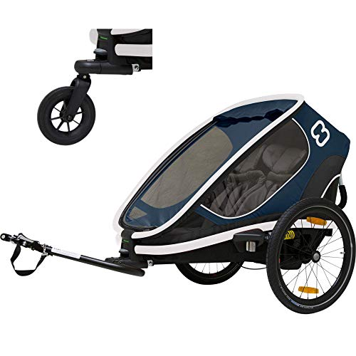 Hamax Outback Two Seat Reclining Multi-Sport Child Bike Trailer + Stroller (Jogger Wheel Sold Separately) (Navy/White)