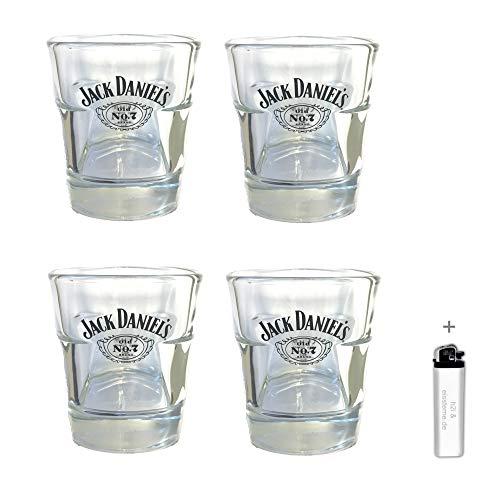 Jack Daniel's h2i 4 Stück < Original Whisky Becher Glas Tumbler 2cl / 4cl > > neues Model < <