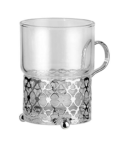 Moroccan style Tea Glass and Silver Plated holder, with special tarnish resistant finish that never needs polishing