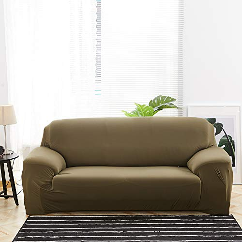 Mansardo 1 Piece Stretch Sofa Cover 1 2 3 4 Seater,Living Room Universal Sofa Cover Solid Color Elastic Fabric Anti-Slip Slipcovers Furniture Protective Brown 3 Seater