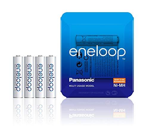 Panasonic eneloop, Ready-to-Use Ni-MH Akku, AAA Micro, 4er Pack, Storage Case, min. 750 mAh, 2100 Ladezyklen, starke Leistung, wiederaufladbare Akku Batterie