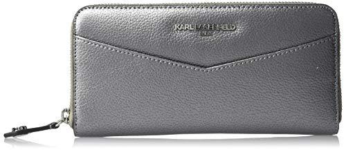 Karl Lagerfeld Paris Damen Hermine Continental Zip Around Wallet Geldbörse, Zinnfarben, Einheitsgröße
