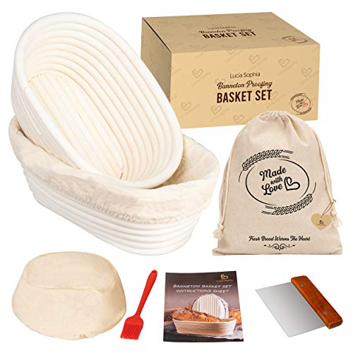 Banneton Bread Proofing Basket Set of 2 - Bread Making Tools and Supplies + Professional Bakers Sourdough Bread Baskets + Oval Brotform Dough Rising Baking Kit