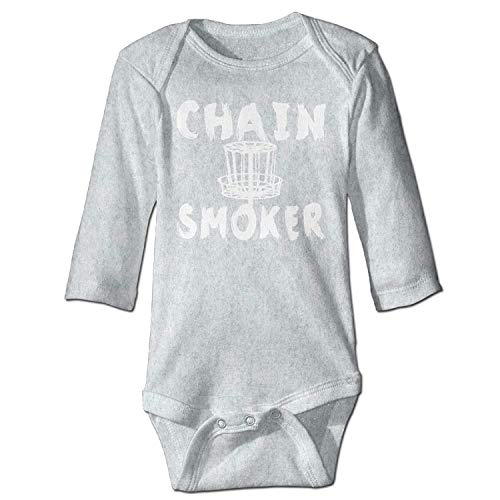 MSGDF Unisex Newborn Bodysuits Chain Smoker Girls Babysuit Long Sleeve Jumpsuit Sunsuit Outfit Ash