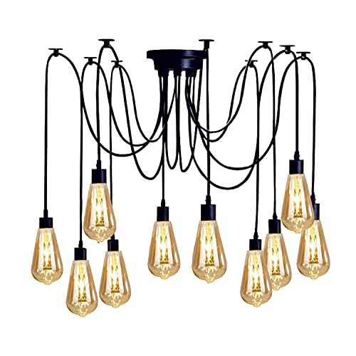 Vintage Edison Suspension Réglable Lampe Suspension Industrielle Lustre Noir Lustre 1/3/5/6 Tête (10 supports)